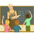 Teacher at blackboard explains children vector