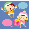 Happy gift and boys and girls winter season vector