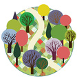 Garden or forest cute round card vector