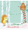 Christmas card with an owl and hedgehog vector