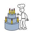 Stick figure cake vector