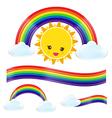 Sun rain bow cloud 002 vector