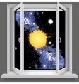 Opened plastic window with views of the cosmos vector