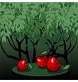 Tasty red apples in the mystic garden vector