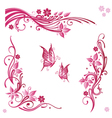 Flowers butterflies pink vector