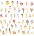 Ice cream set funny design - hand drawn vector