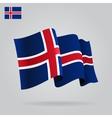 Flat and waving icelandic flag vector