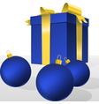 Blue christmas gift box and balls vector