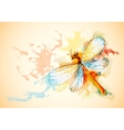 Horizontal background with orange dragonfly vector