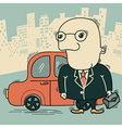 Businessman and car in big city vector