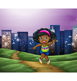 A young black girl across the tall buildings in vector