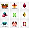 Company logos paper geometric icon set vector