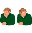 Happy cartoon man torso in green sweater vector