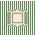 Wooden frame on striped wallpaper vector