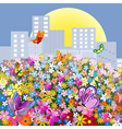 Flower meadow outside the city vector