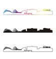 Athens skyline linear style with rainbow vector