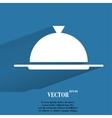 Restaurant cloche flat modern web button with long vector