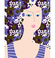Fashion card with woman flower dress vector