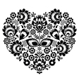 Polish folk art heart pattern in black - wycinanka vector