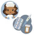 Cute nurse and medical tools vector