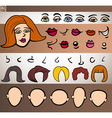 Woman face elements set cartoon vector