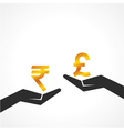 Hand hold rupee and pound symbol to compare vector