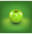 Green apple with organic label vector