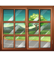 A closed window with a view of the road vector