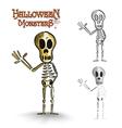 Halloween monsters spooky human skeleton eps10 vector