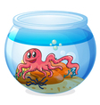 An octopus inside an aquarium vector