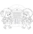 Schoolchildren going to school vector