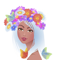 Beautiful girl with flowers on her head vector