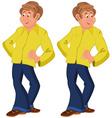 Happy cartoon man standing in yellow shirt vector