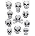Human halloween skulls set vector