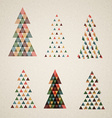 Collection of vintage retro christmas trees vector