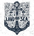 Hand drawn vintage label with an anchor on grunge vector