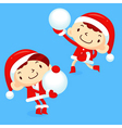 Snowball fight to play boys and girls vector