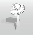 Sticker with flying saucer vector
