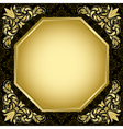 Black vintage card with gold decorations vector