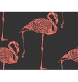 Vintage of a pink flamingo seamless animal vector