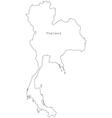 Black white thailand outline map vector