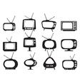 Black retro tv icons set vector