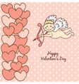 Card happy valentines day cupid with bow and arrow vector