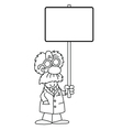 Cartoon scientist with sign vector