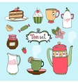 Hand-drawn tea set and cake icons vector