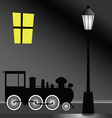Tram with street light color vector