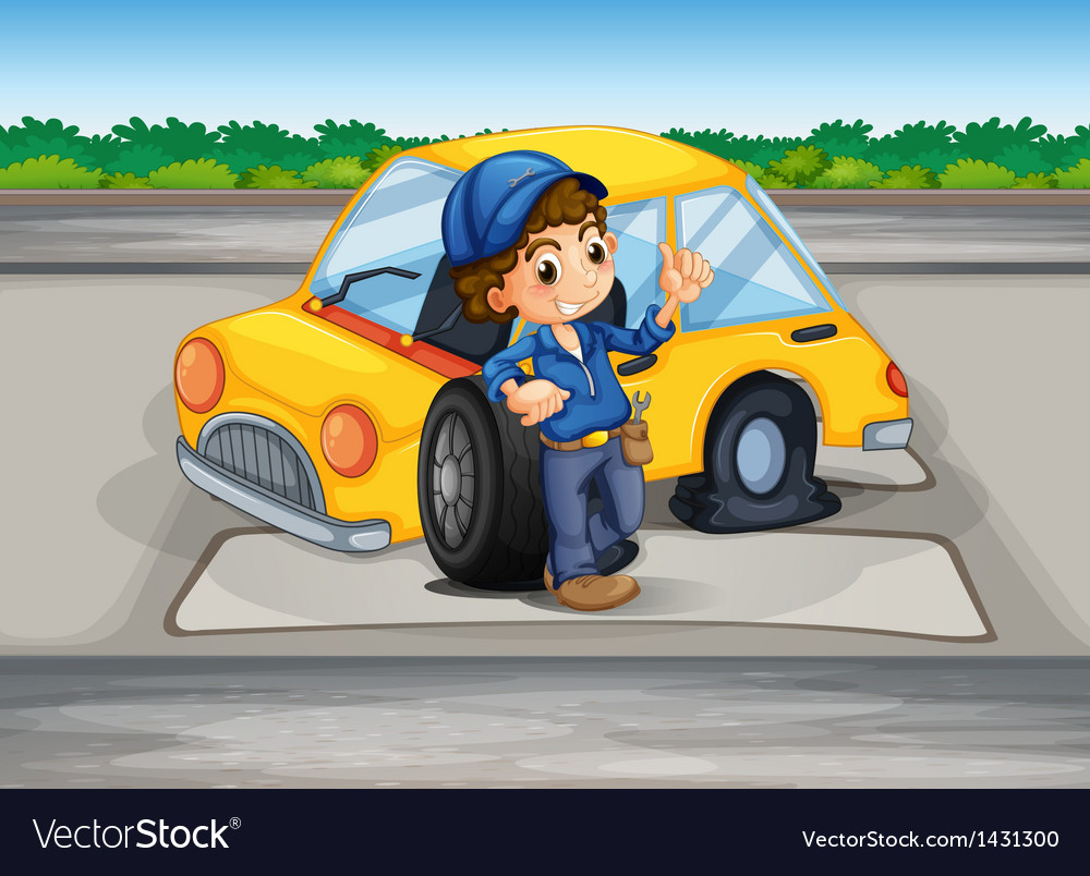 A boy reparing the damaged car vector | Price: 1 Credit (USD $1)