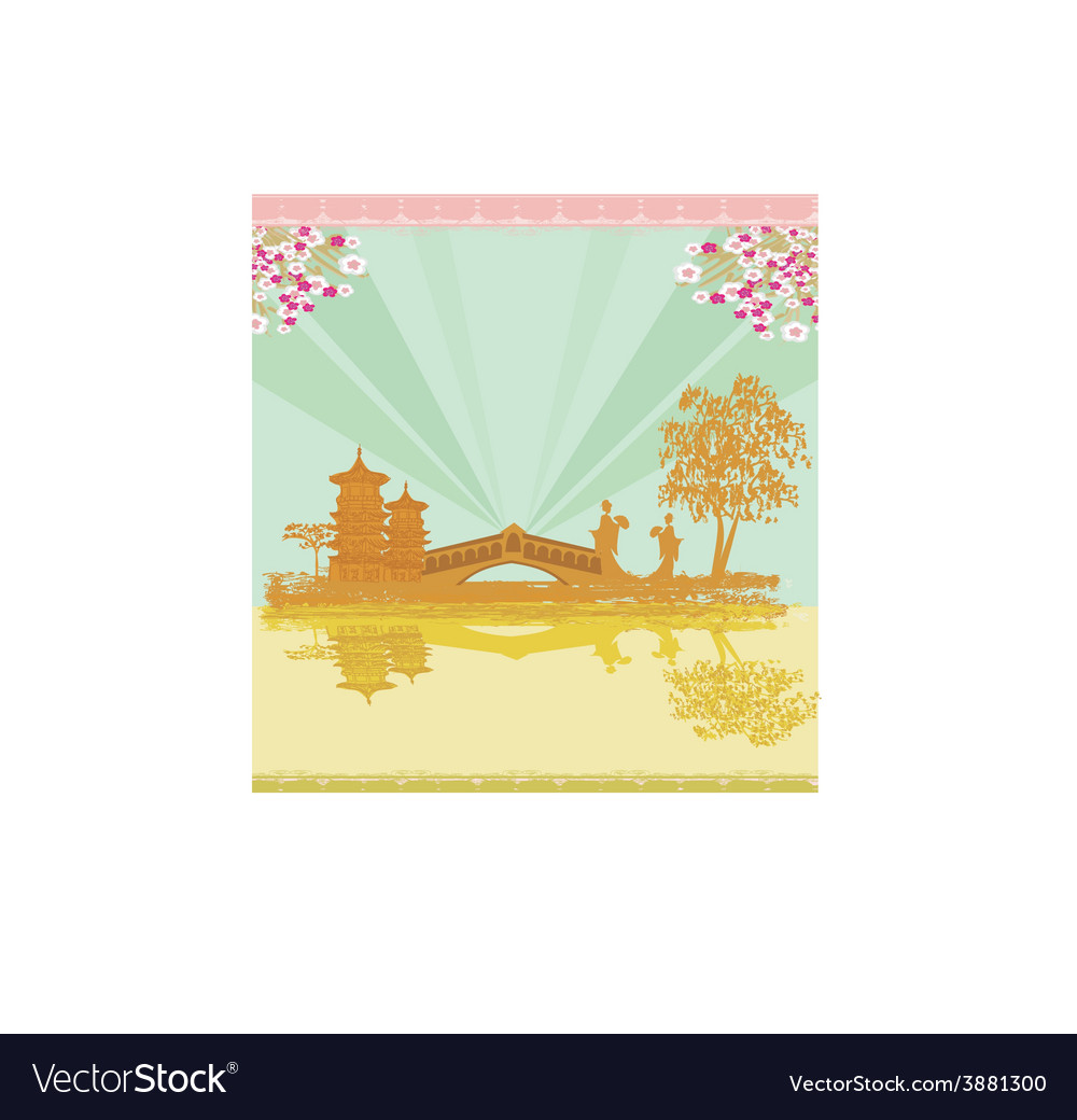 Abstract asian landscape and two geishas vector