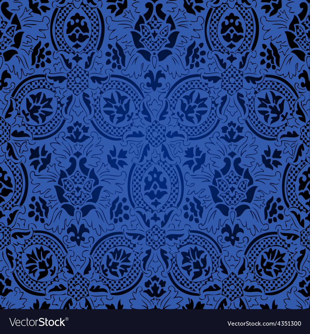 Blue and black seamless abstract floral silk vector | Price: 1 Credit (USD $1)