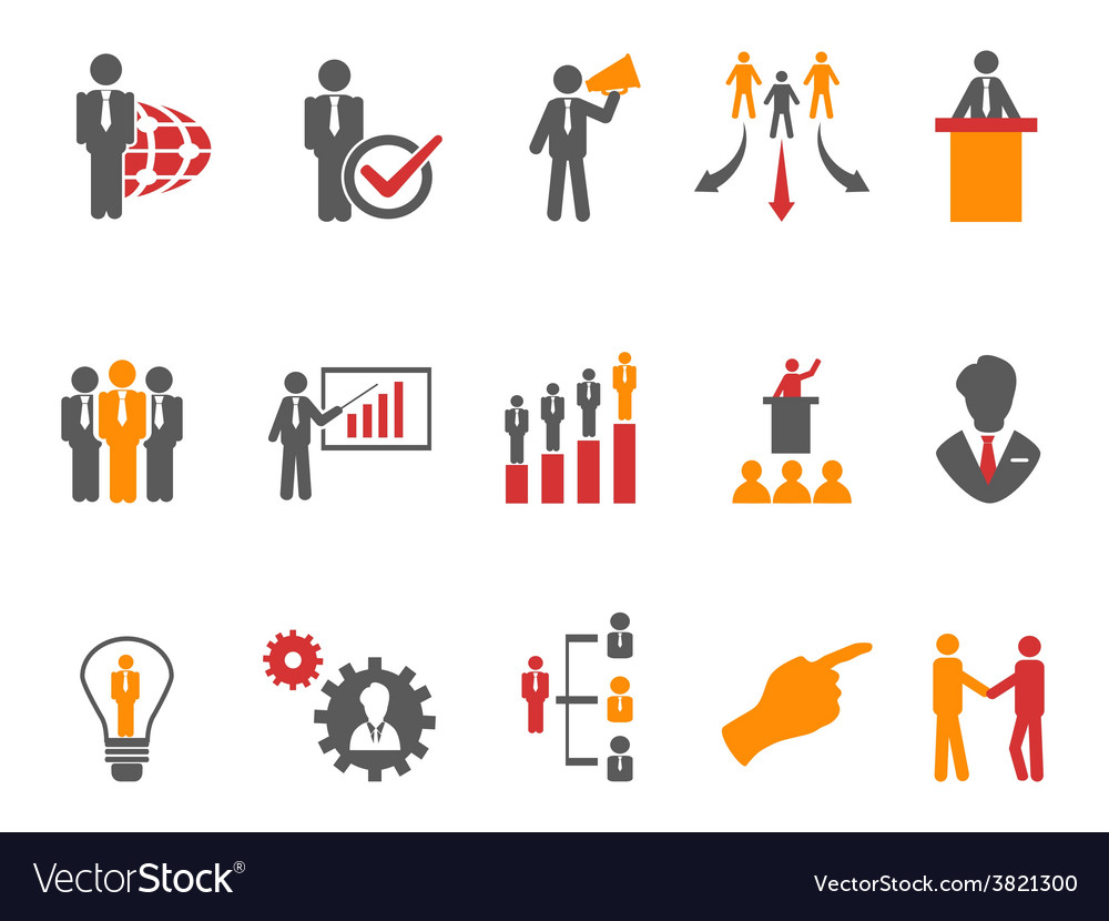 Business and management icons orange series vector | Price: 1 Credit (USD $1)